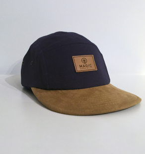 LOGO LEATHER CAP (BLUE/SUEDE)