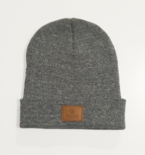 LOGO LEATHER BEANIE (GREY)