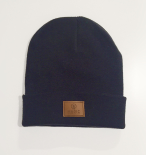 LOGO LEATHER BEANIE (MARINE)